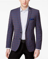 Nick Graham Men's Slim-Fit Stretch Brown and Blue Deco Plaid Sport Coat
