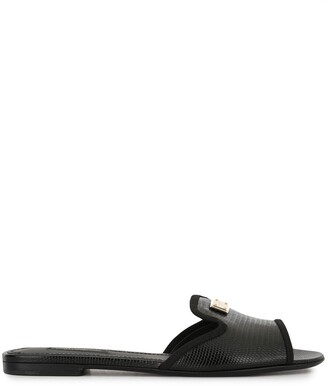 Dolce & Gabbana Lizard-Effect Slip-On Sandals