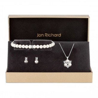 Jon Richard Silver Plated Clear Crystal Pearl And Crystal Cluster Trio - Gift Boxed
