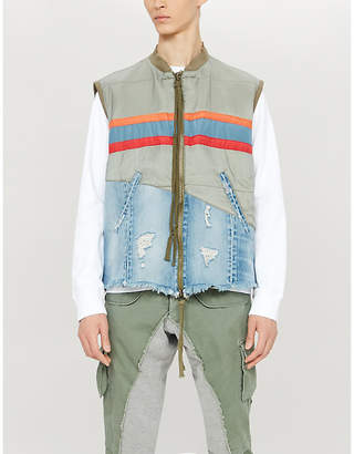 Greg Lauren Striped shell and denim gilet