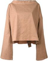 Andrea Ya'aqov - bell sleeve T-shirt - women - Cotton/Linen/Flax/Spandex/Elastane - XS