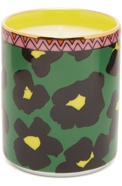 La DoubleJ Flower Leopard Gilded-edge Scented Candle - Green Print