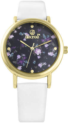 Decree Womens Floral Dial White Strap Vintage-Style Watch