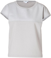 Helmut Lang Leather/Cotton Mixed-Media Top in White Ash