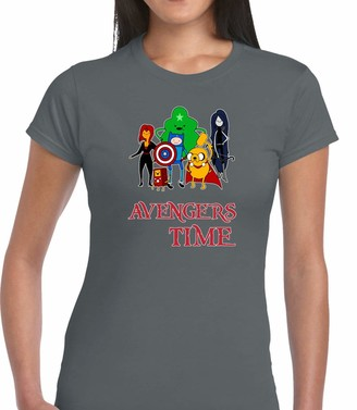 Crown Designs Avenger Time Super Hero Movie & Comic Book Fan Premium Quality Fitted T-Shirt Top for Women and Teens - Grey/XXL - 14/16