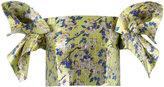 DELPOZO floral structured sleeve crop top - women - Silk/Cotton/Polyester - 36