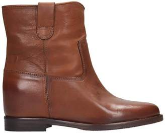 Julie Dee Low Heels Ankle Boots In Leather Color Leather