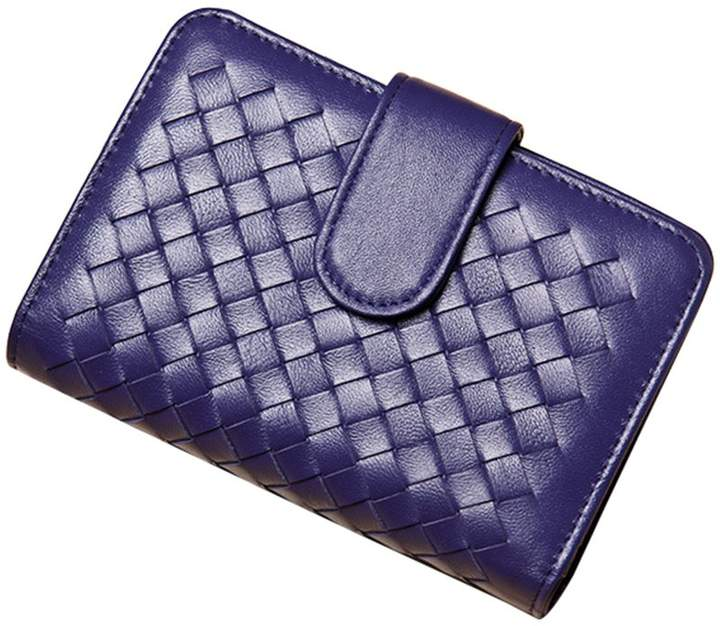 bd07d47ae6b9 MuLier Women's Mini Weave Leather Bifold Wallet ID Window Coin Pocket with  snap closure