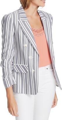 1 STATE Stripe Ruched Sleeve Blazer