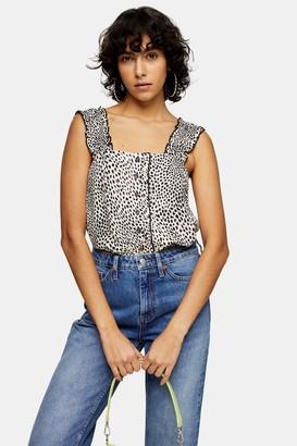 Topshop Womens Tall Black And White Animal Print Button Cami - Monochrome
