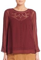 Joie Gaiane Viscose Crepe Embroidered Blouse