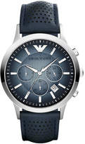 Emporio Armani Unisex Chronograph Renato Blue Leather Strap Watch 43mm AR2473