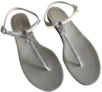 Chanel Grey Suede Sandals