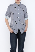 THINK CLOSET Elegant Bird Stripe Top