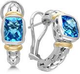 Effy Ocean Bleu Blue Topaz Hoop Earrings (5 ct. t.w.) in Sterling Silver and 18k Gold