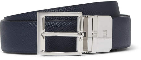 Dunhill 3cm Blue And Black Reversible Leather Belt