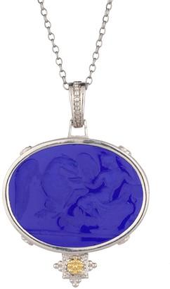 Tagliamonte Sterling /18K Blue Venetian Cameo Pendant w/ Chain
