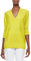 Neiman Marcus V-Neck 3/4-Sleeve Sweater