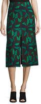 Akris Garden-Print A-Line Skirt, Green