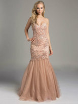 Lara Dresses - Splendid Strapless Mermaid Gown with Tulle Skirt 42625