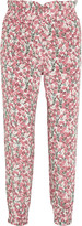 Mother of Pearl Rita floral-print silk-satin tapered pants