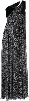 Rasario velvet-trimmed leopard-print gown