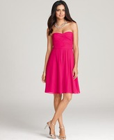 Ann Taylor Petite Silk Georgette Ruched Bustier Bridesmaid Dress