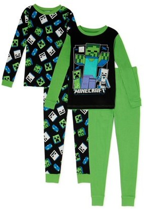 Minecraft Boys Cotton Long Sleeve, Long Pants, 4-Piece Pajama Set Sizes 6-12