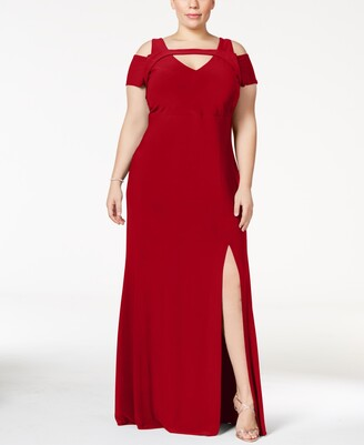 Nightway Plus Size Cold-Shoulder Keyhole Gown