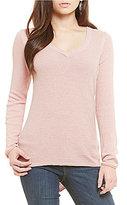Democracy V-Neck Lace Up Back Light Weight Sweater