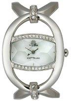 JLO by Jennifer Lopez Women's JL/2607WMSB Swarovski Crystal Silver-Tone Open Oval Bangle Watch