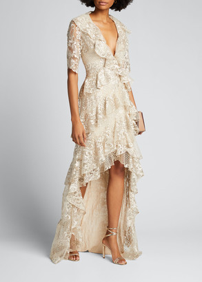Badgley Mischka Sequin Lace 1/2-Sleeve Tiered Ruffle High-Low Gown