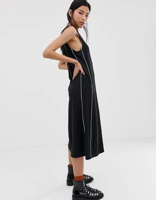 Dr. Denim button through dress with piping detail-Black