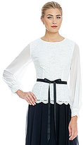 Alex Evenings Long Sleeve Scalloped Edge Lace Top