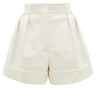 Valentino High-rise Leather Shorts - Ivory