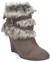Thalia Sodi Saadie Faux-Fur-Trim Wedge Booties, Only at Macy's