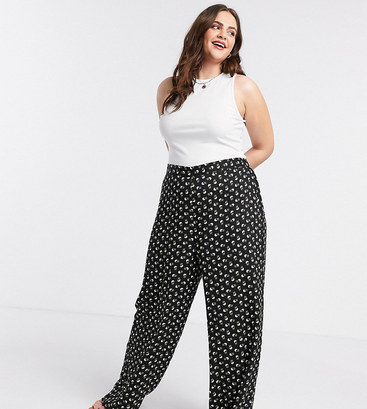 WearAll Womens Plus Floral Print Trousers Full Length Elasticated Waist Pants