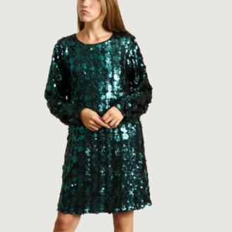 Essentiel Antwerp Emerald Polyester Sequin Short Dress - 36 | emerald | polyester - Emerald