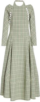 Rosie Assoulin Hold My Bolero Plaid Cotton-Blend Maxi Dress