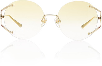 Gucci Rimless Round-Frame Metal Sunglasses