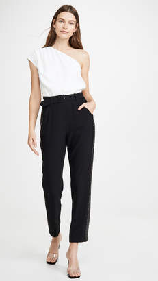 Derek Lam 10 Crosby One Shoulder Jumpsuit with Sequin Tuxedo Stripe