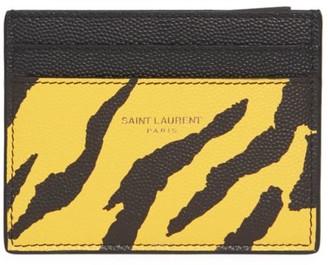 Saint Laurent Zebra Pebbled Leather Card Case