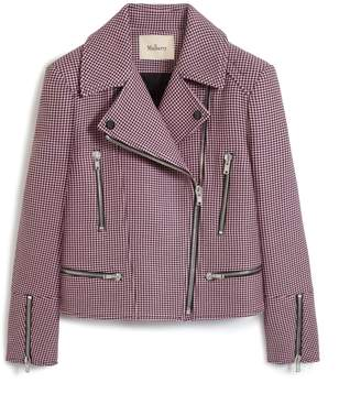 Mulberry Gwen Jacket Icy Pink Mini Houndstooth Textured Wool