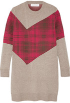 Thakoon Addition Tartan-Paneled Knitted Sweater