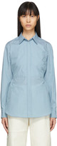 MM6 MAISON MARGIELA Blue Striped Poplin Waist-Cinching Bib Shirt