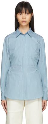 MM6 MAISON MARGIELA Blue Striped Poplin Waist-Cinching Bib Shirt