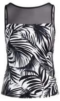 Ralph Lauren Mesh-Yoke Palm-Print Tankini Black And White 4