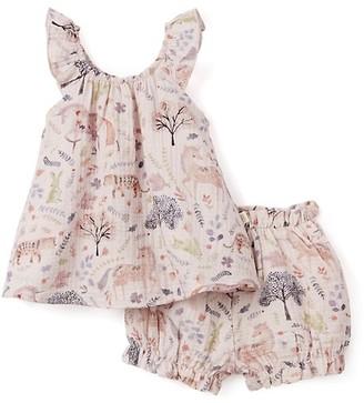 Elegant Baby Baby Girl's 2-Piece Floral Print Flutter Top & Bloomers Set