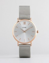 Cluse Minuit Rose Gold & Silver Mesh Watch CL30025