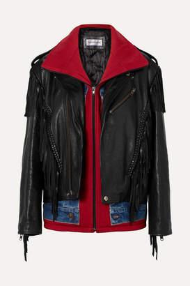 Balenciaga Layered Fringed Leather, Denim And Jersey Biker Jacket - Black